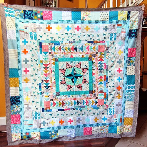 Summer Medallion Adventure finished quilt top